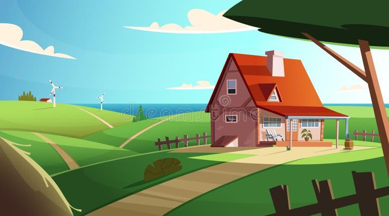 Paisaje colorido del campo con una casa hermosa del pueblo Ubicación rural Ejemplo moderno del vector de la historieta libre illustration