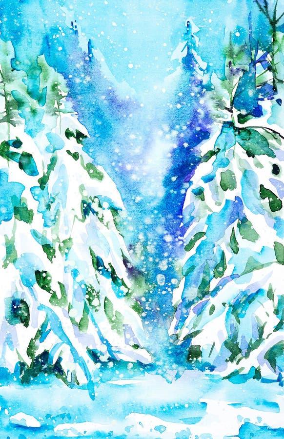 Paisaje colorido del invierno del ejemplo exhausto de la acuarela de la mano nevosa del bosque ilustración del vector