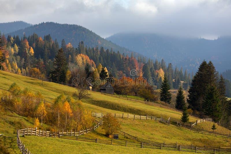 Paisaje colorido del otoño en el pueblo de montaña Mañana de niebla en las montañas cárpatas fotos de archivo libres de regalías
