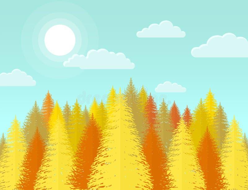 Paisaje conífero de la naturaleza del bosque del pino del otoño con el árbol amarillo stock de ilustración