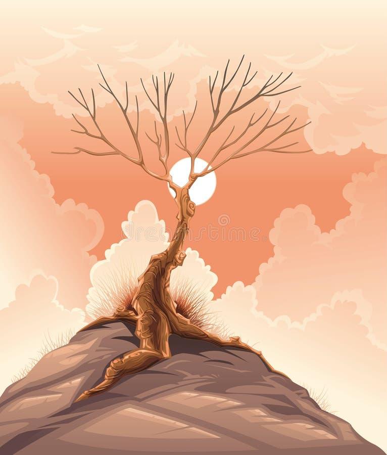Paisaje con el árbol. ilustración del vector