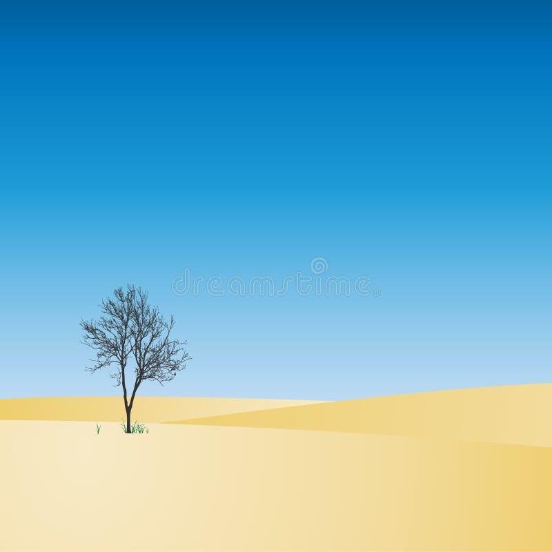 Paisaje con el árbol ilustración del vector