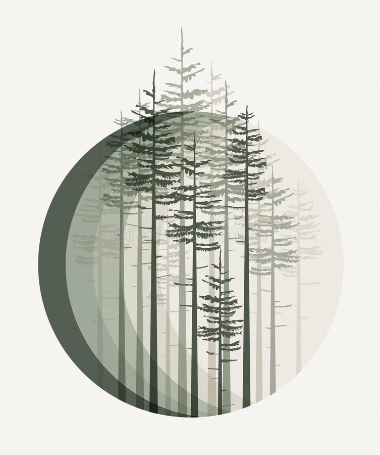 Paisaje con el bosque stock de ilustración