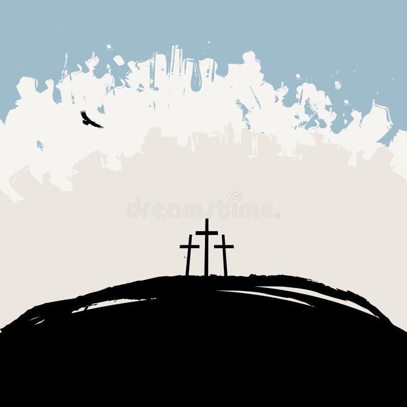 Paisaje con el Calvary del soporte y tres cruces ilustración del vector