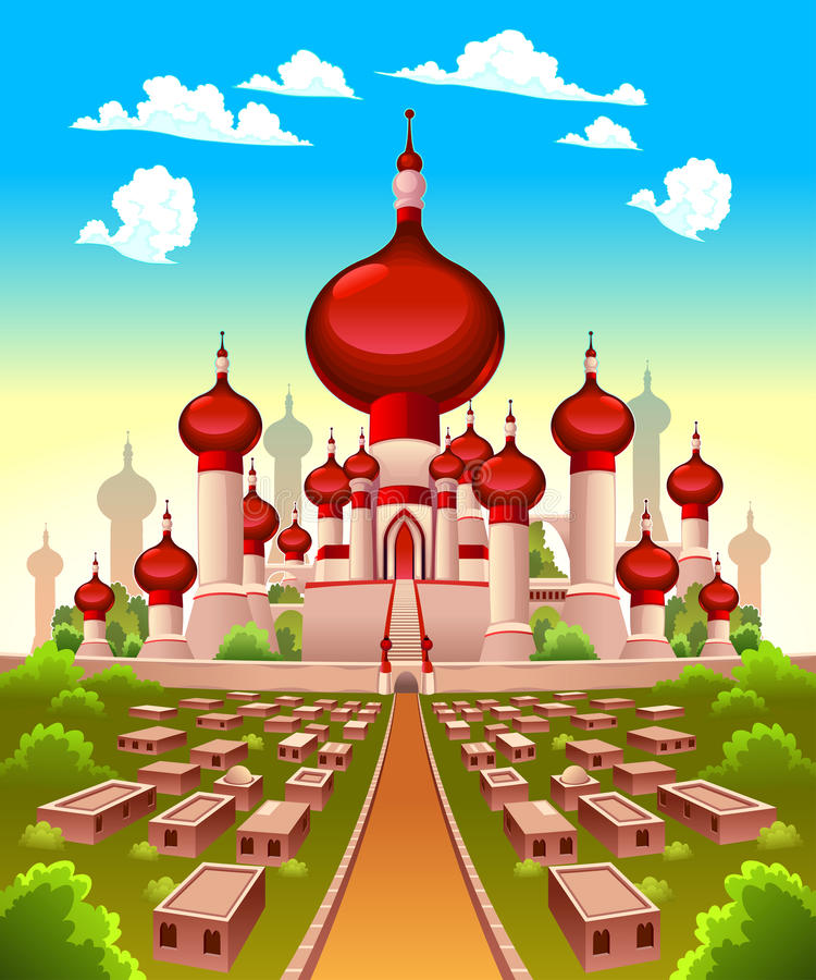 Paisaje con el castillo árabe ilustración del vector