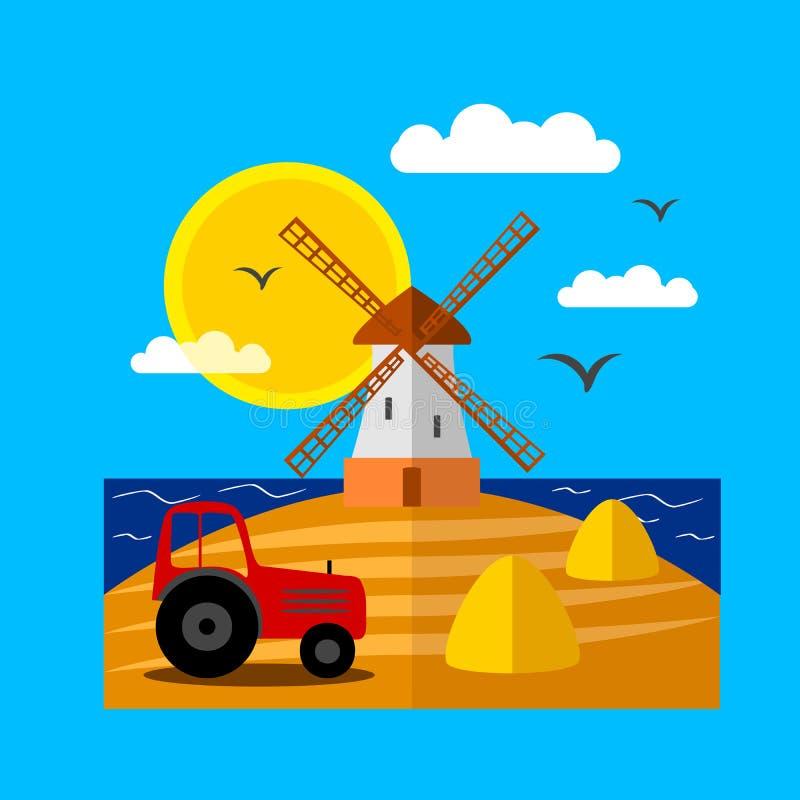 Paisaje con el molino de viento foto de archivo libre de regalías