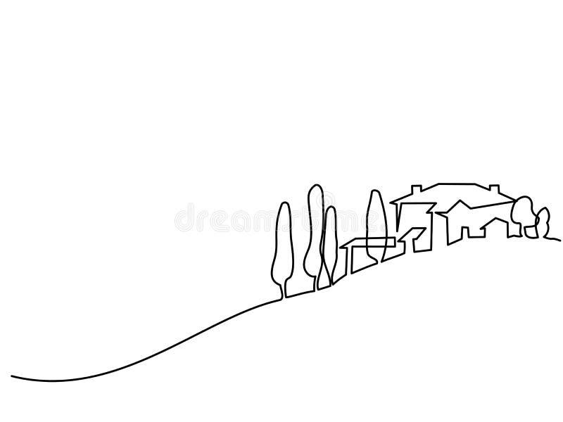 Paisaje con el pueblo en la colina stock de ilustración