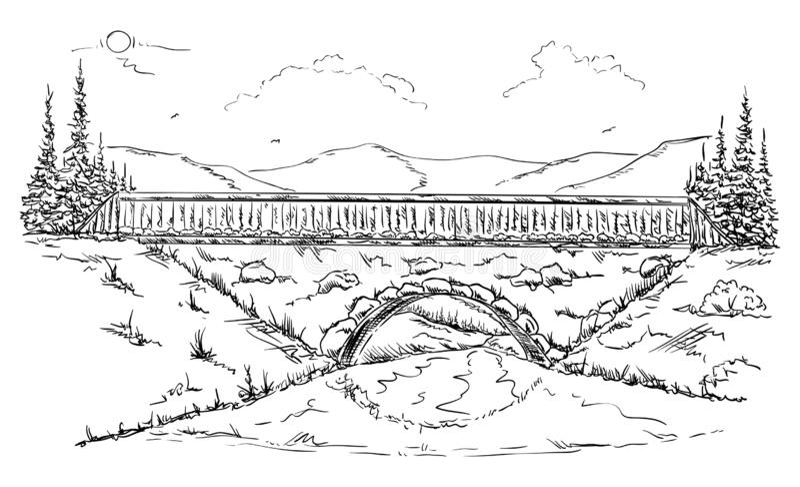 Paisaje con el puente ilustración del vector