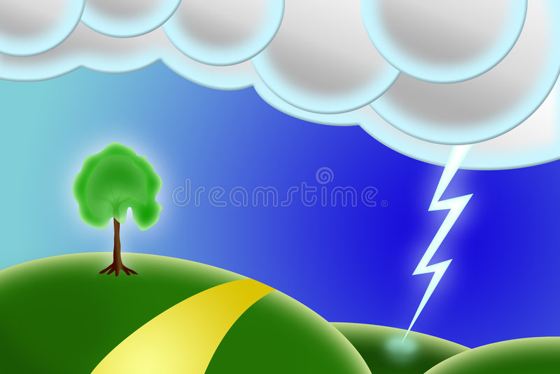Paisaje con el relámpago un árbol ilustración del vector