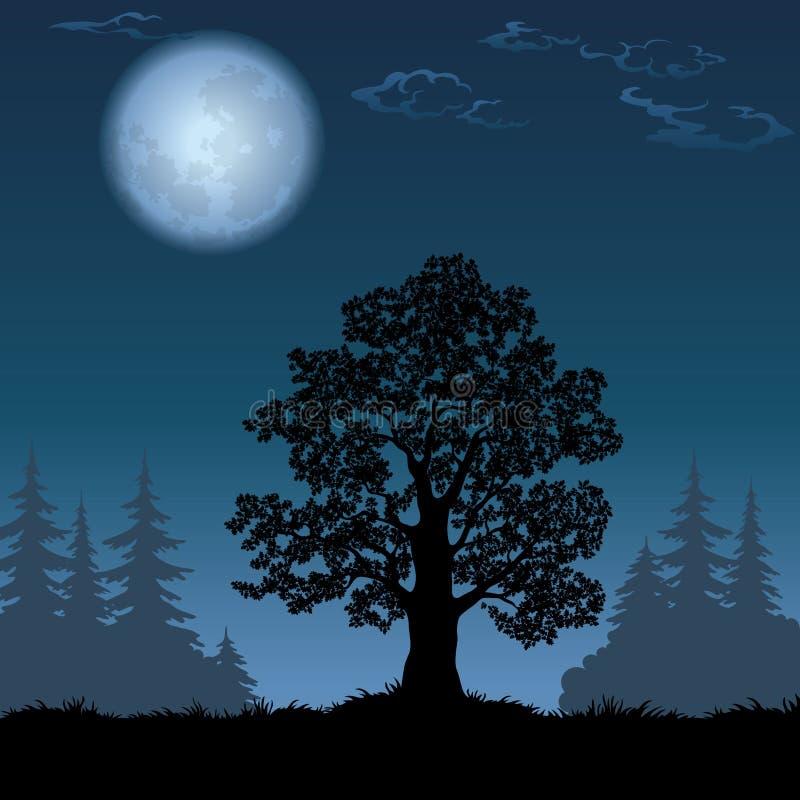 Paisaje con el roble y la luna ilustración del vector