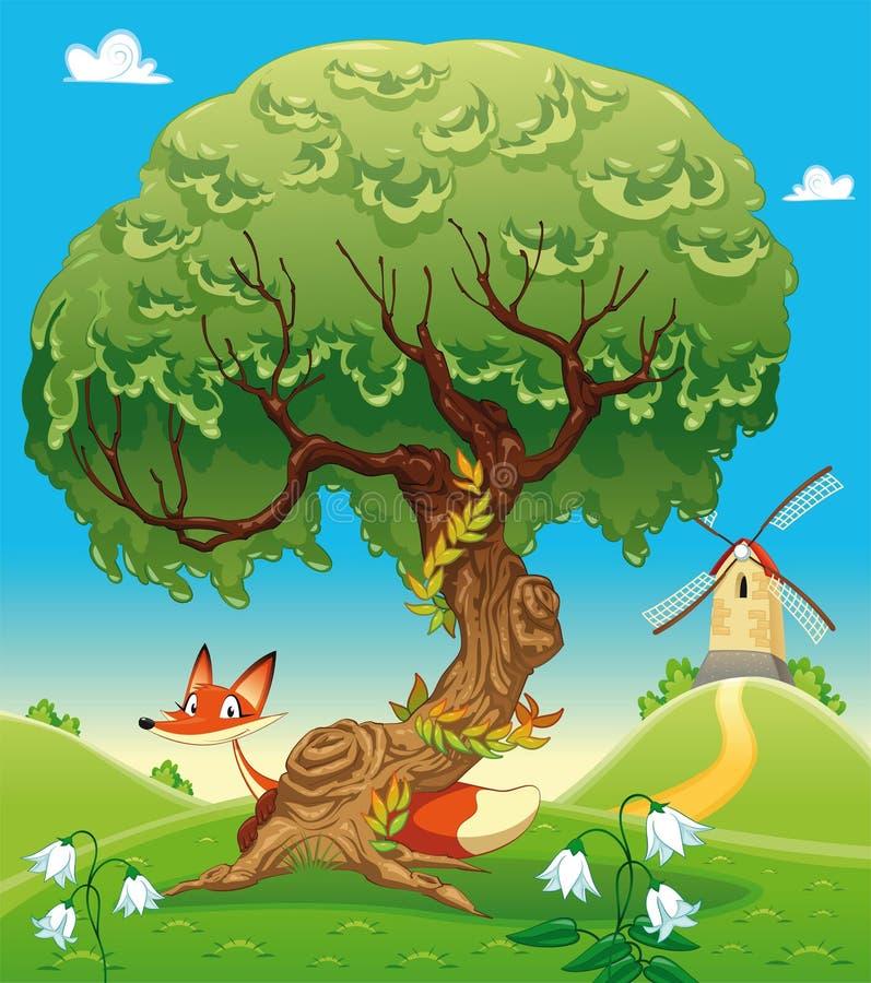Paisaje con el zorro detrás del árbol. stock de ilustración