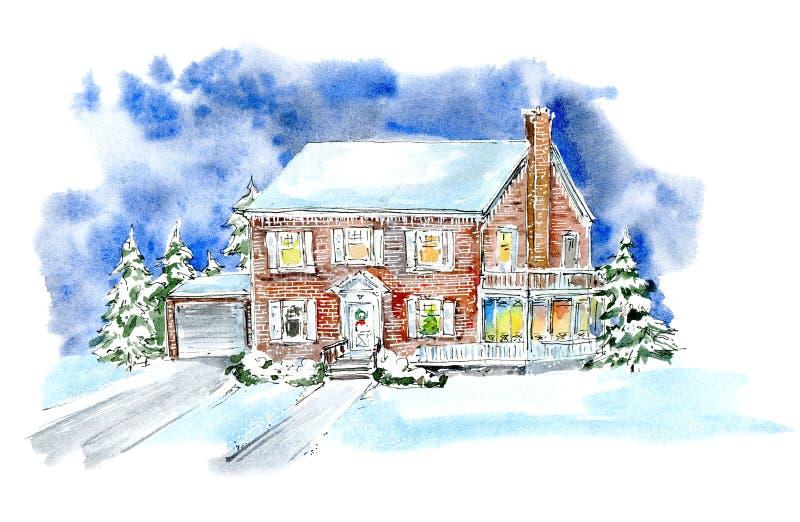 Paisaje con la cabaña en invierno Casa y árboles de navidad ilustración del vector