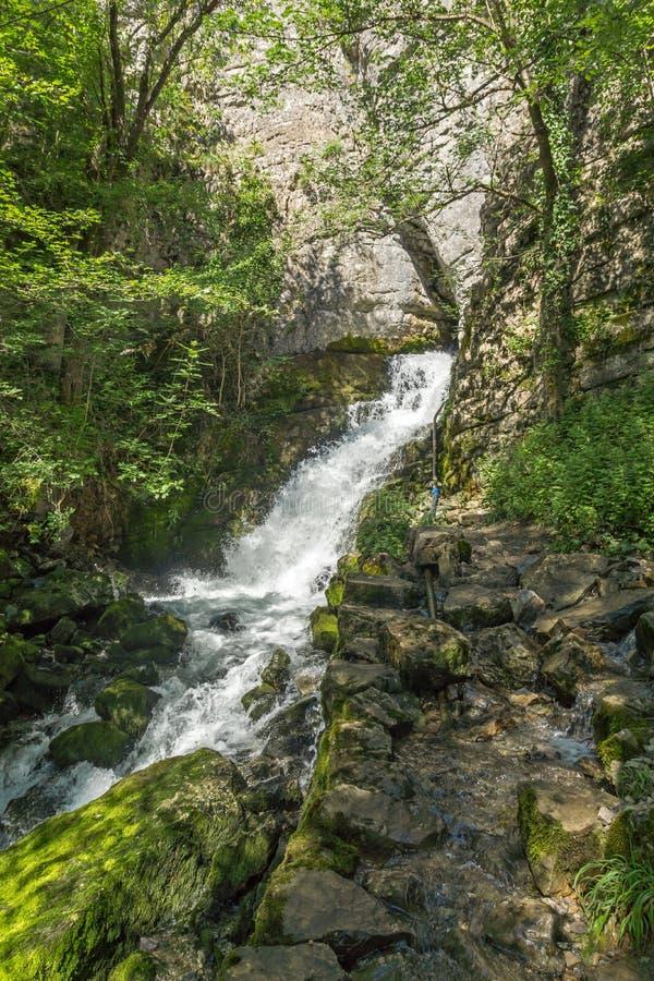 Paisaje con la cascada Skaklya cerca de pueblos de Zasele y de Bov en el rastro de Vazov, montañas balcánicas, Bulgaria imagen de archivo libre de regalías