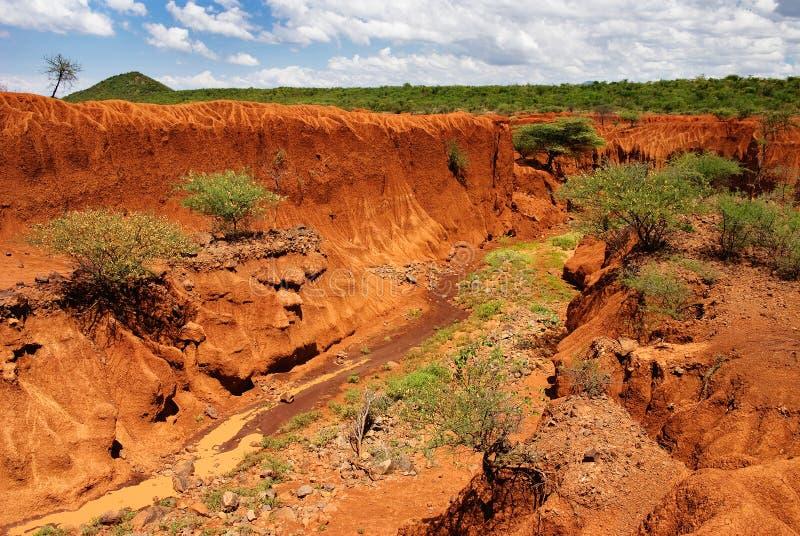 Paisaje con la erosión de suelo, Kenia foto de archivo