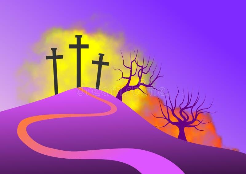 Paisaje con la escena del Calvary, con el simbolismo de la crucifixión de Jesús stock de ilustración