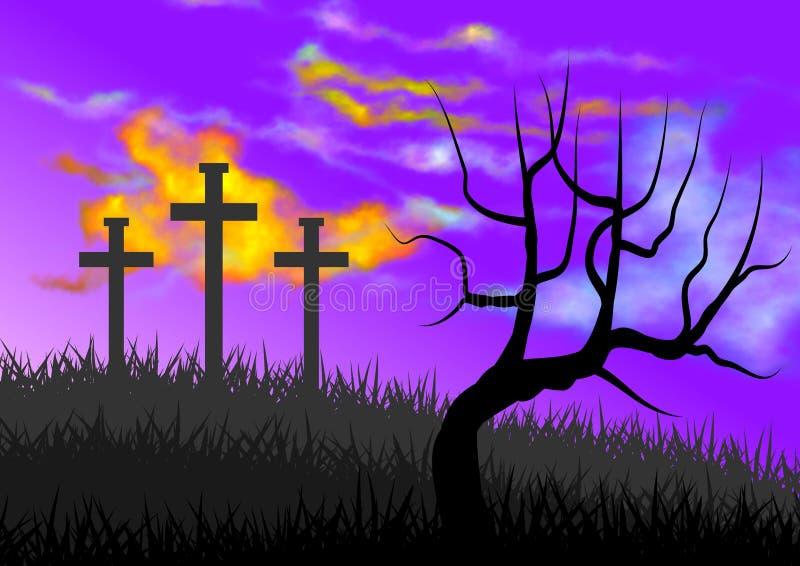Paisaje con la escena del Calvary, con el simbolismo de la crucifixión de Jesús libre illustration