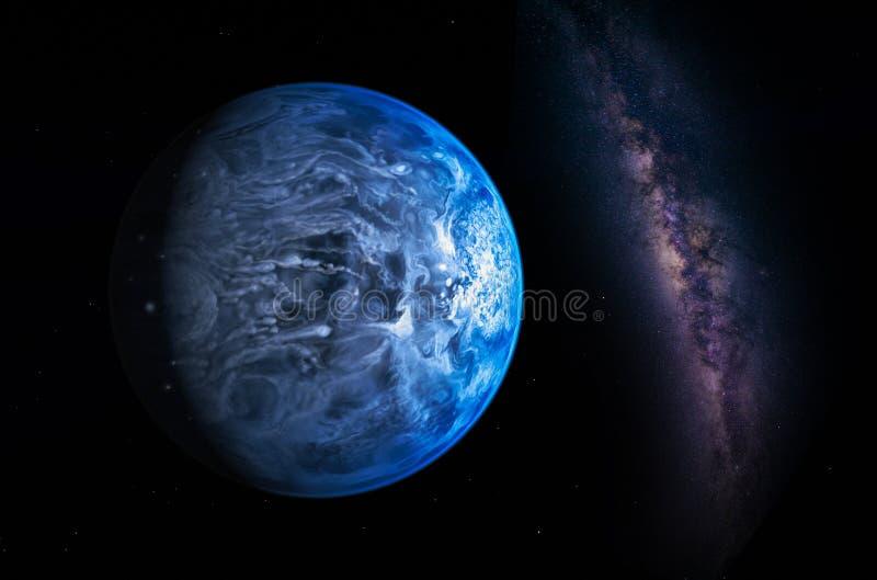 Paisaje con la galaxia de la vía láctea Opinión de la tierra del espacio con leche fotografía de archivo libre de regalías