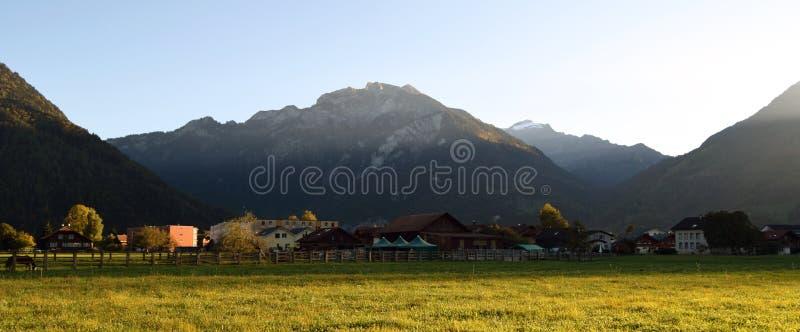 Paisaje con la hierba, las montañas, las casas, los árboles y los caballos imágenes de archivo libres de regalías