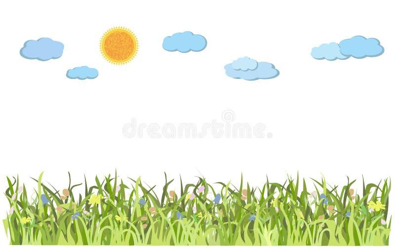 Paisaje con la hierba verde y el sol stock de ilustración