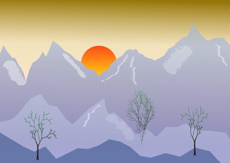 Paisaje con la montaña, salida del sol, cielo de oro del vector de la mañana Picos de alta montaña de la primavera en un fondo de ilustración del vector
