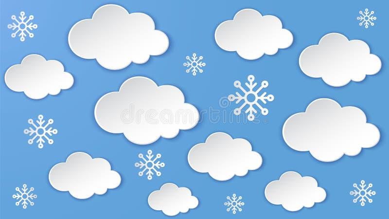 Paisaje con la nube, copo de nieve en el marco del cielo nocturno Nevadas fuertes, estación del invierno Arte acodado corte de pa stock de ilustración