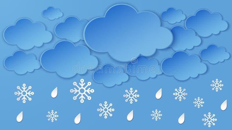 Paisaje con la nube, copo de nieve, gotas de lluvia en el marco del cielo nocturno Nevadas fuertes, estación del invierno Arte ac libre illustration