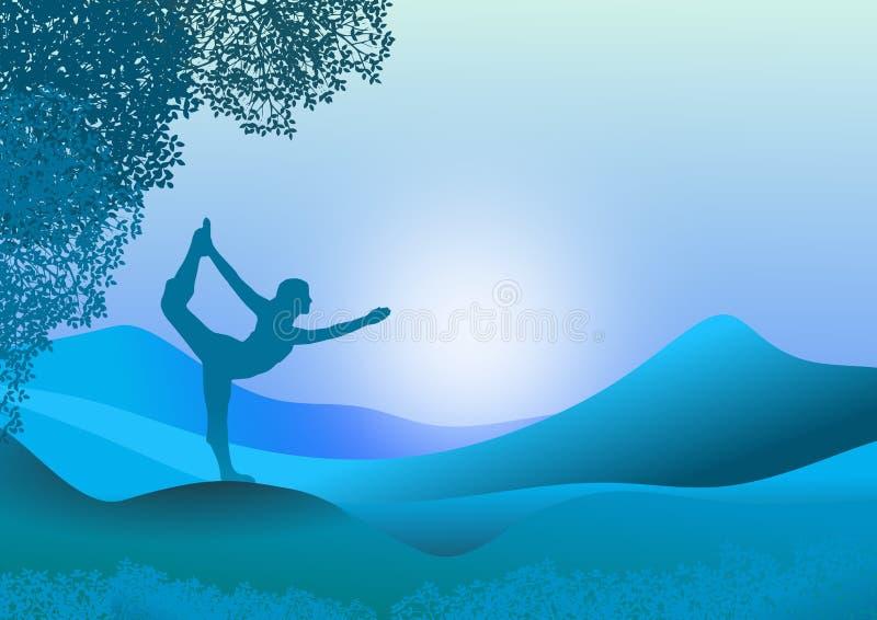 Paisaje con la silueta femenina en ejercicio de la yoga ilustración del vector