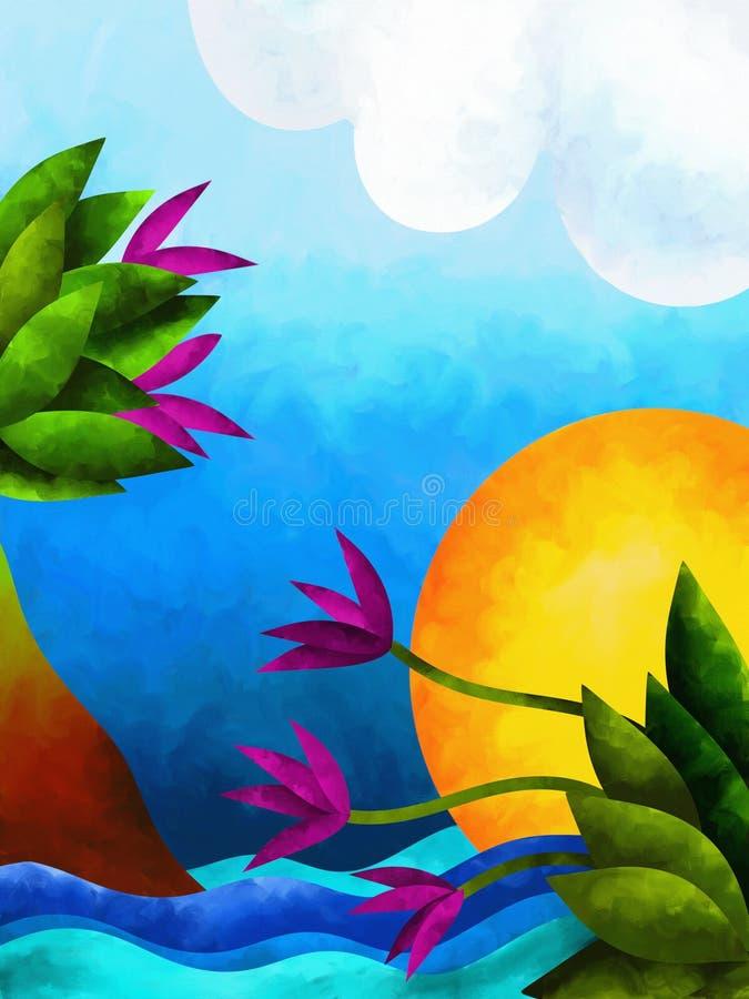 Paisaje con las flores púrpuras libre illustration