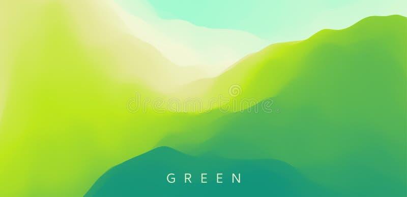Paisaje con las montañas verdes Terreno montañoso Fondo abstracto de la naturaleza Ilustración del vector libre illustration