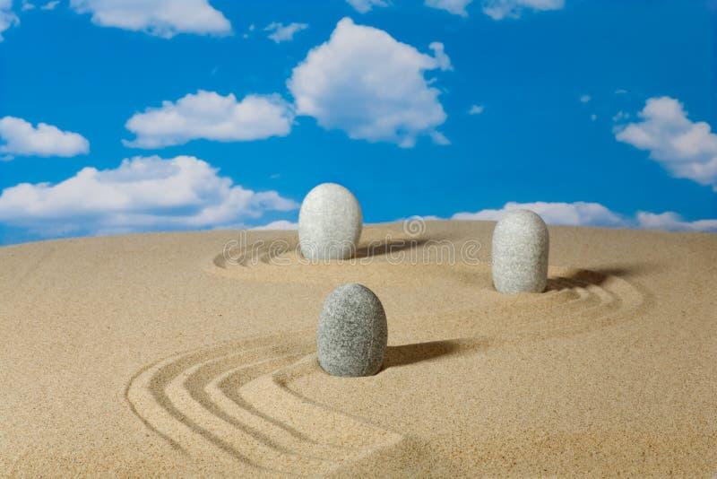 Paisaje con las piedras en el cielo