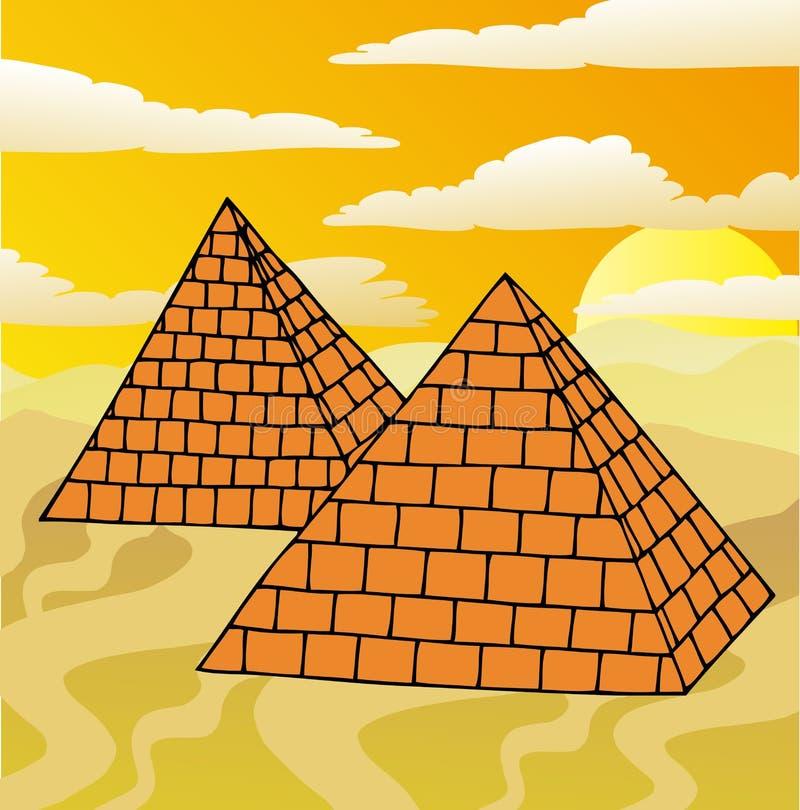 Paisaje con las pirámides ilustración del vector