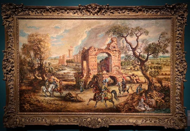 Paisaje con las ruinas, castillo y jinetes, pintando por Giorgio de Chirico imagen de archivo libre de regalías