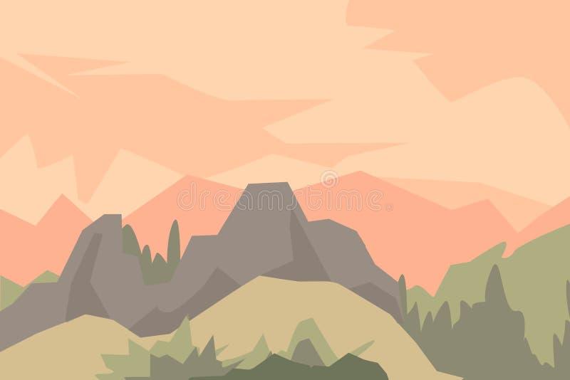 Paisaje con las siluetas de montañas, de colinas y del bosque ilustración del vector