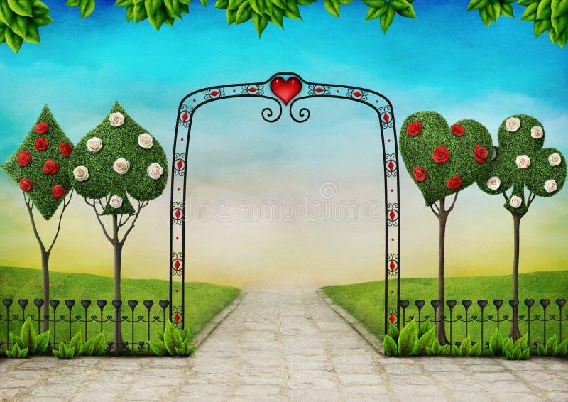 Paisaje con los árboles, el topiary y las rosas libre illustration