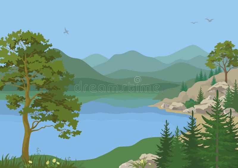 Paisaje con los árboles y el lago mountain ilustración del vector