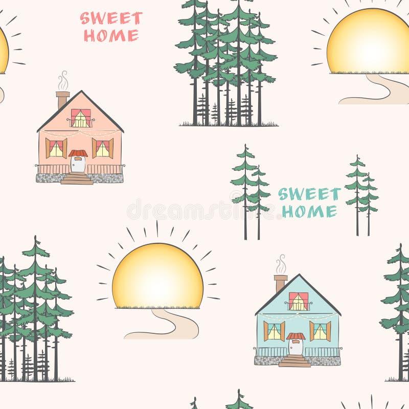 Paisaje con los árboles y las casas de pino ilustración del vector