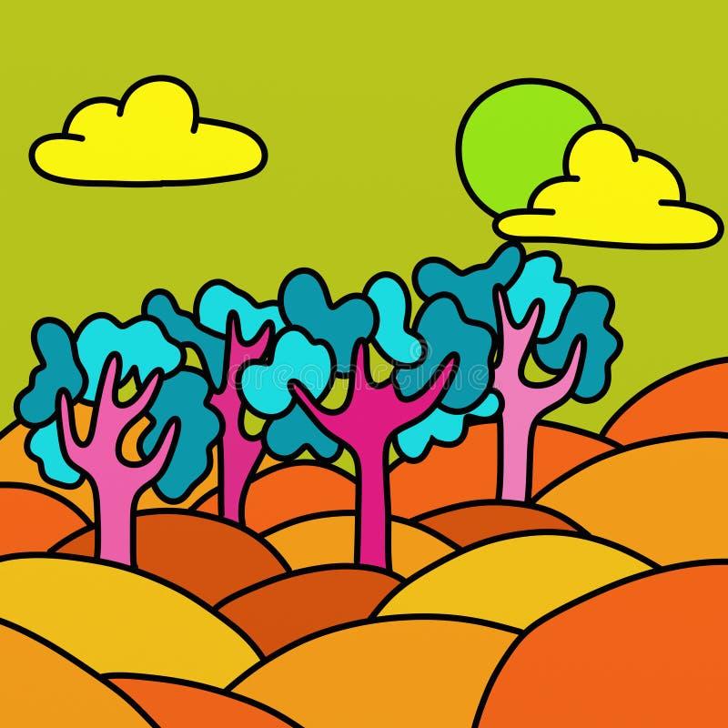Paisaje con multicolor ilustración del vector