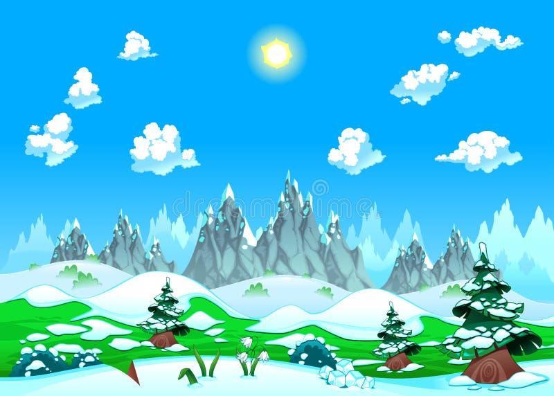 Paisaje con nieve y montañas. stock de ilustración