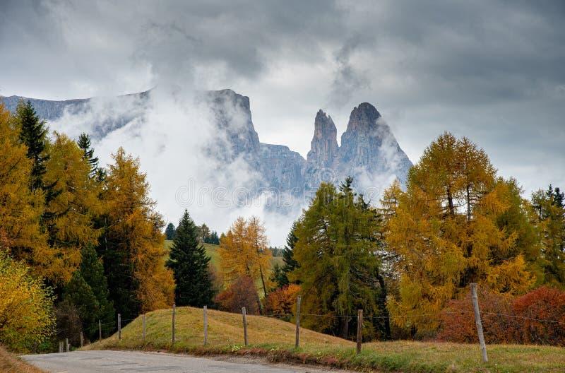 Paisaje con prado de otoño y picos rocosos dolomitas en Italia imagen de archivo libre de regalías