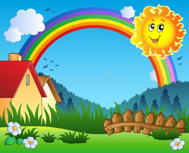 Paisaje con Sun y el arco iris ilustración del vector