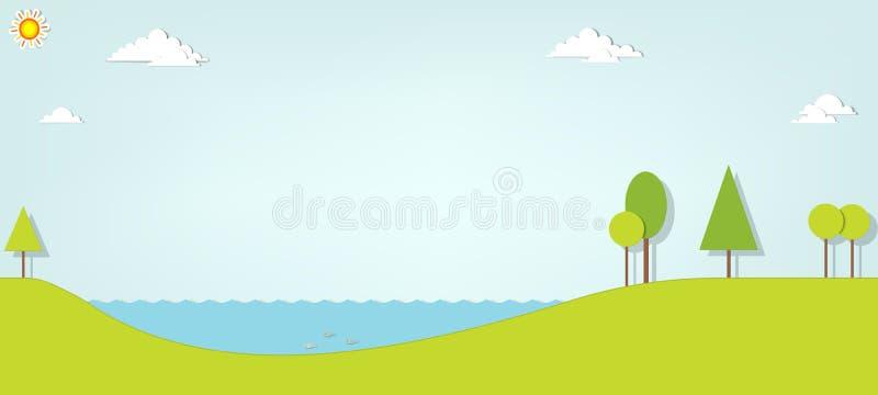 Paisaje con un lago y los árboles libre illustration