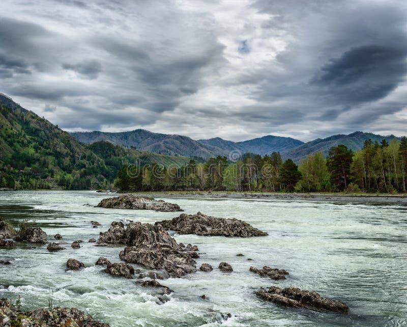 Paisaje con un río de la montaña foto de archivo
