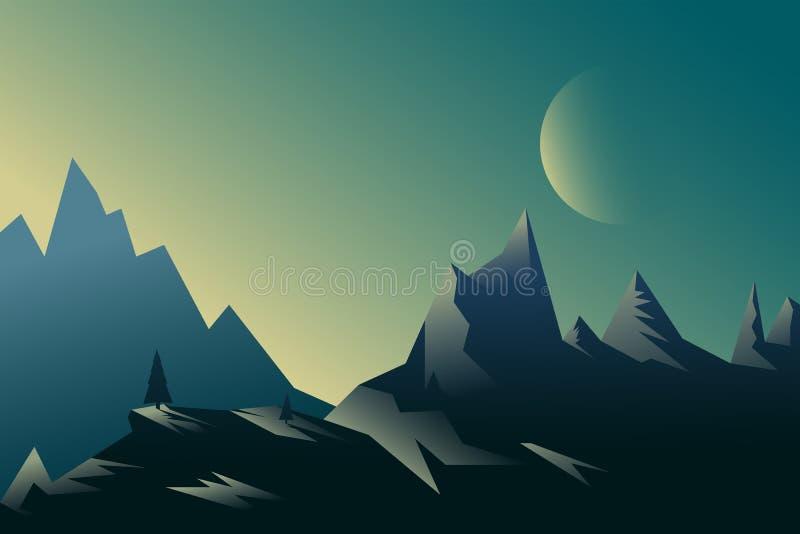 Paisaje crepuscular de la montaña del vector del fondo horizontal común del ejemplo en estilo plano en la noche con la luna grand stock de ilustración
