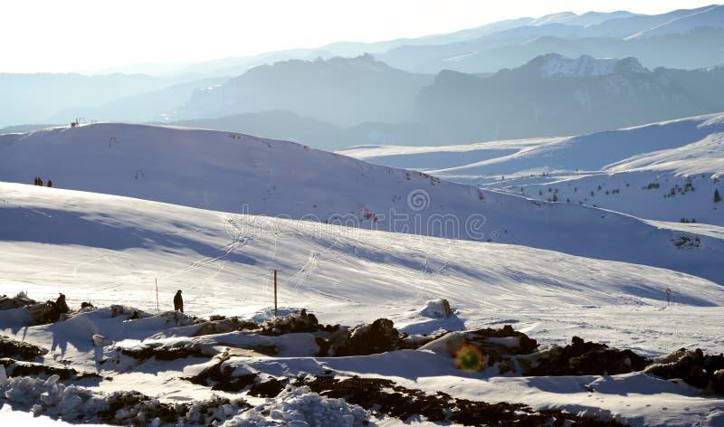 Paisaje, cuestas del esquí imagen de archivo libre de regalías