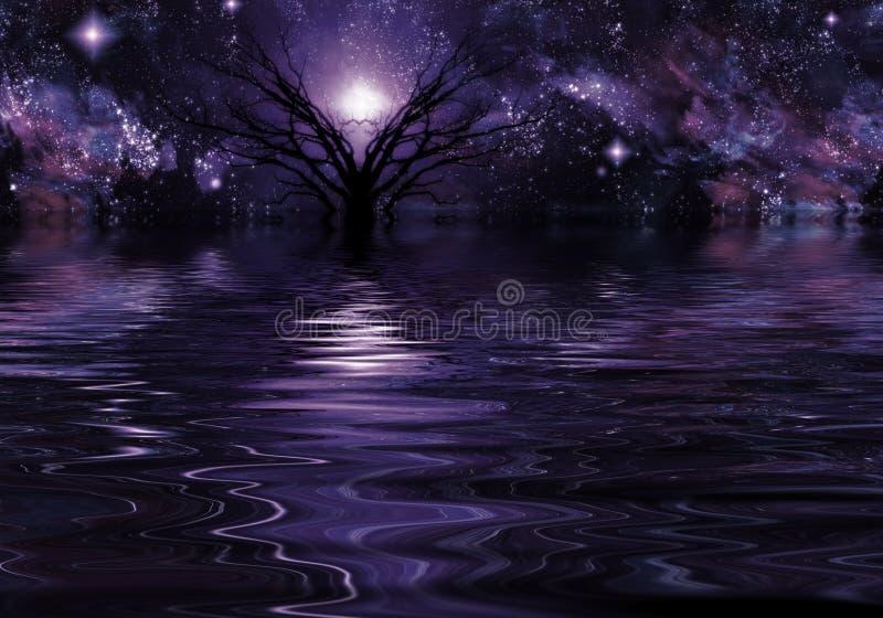 Paisaje de color morado oscuro de la fantasía stock de ilustración