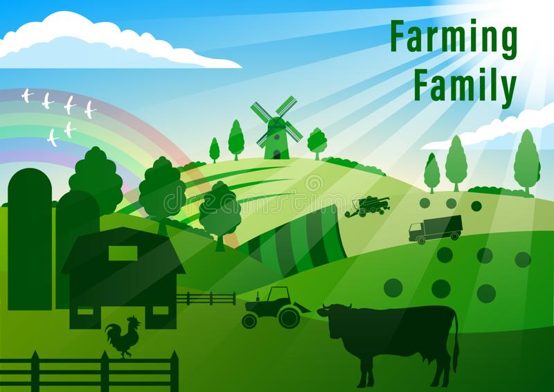 Paisaje de Contry farming stock de ilustración