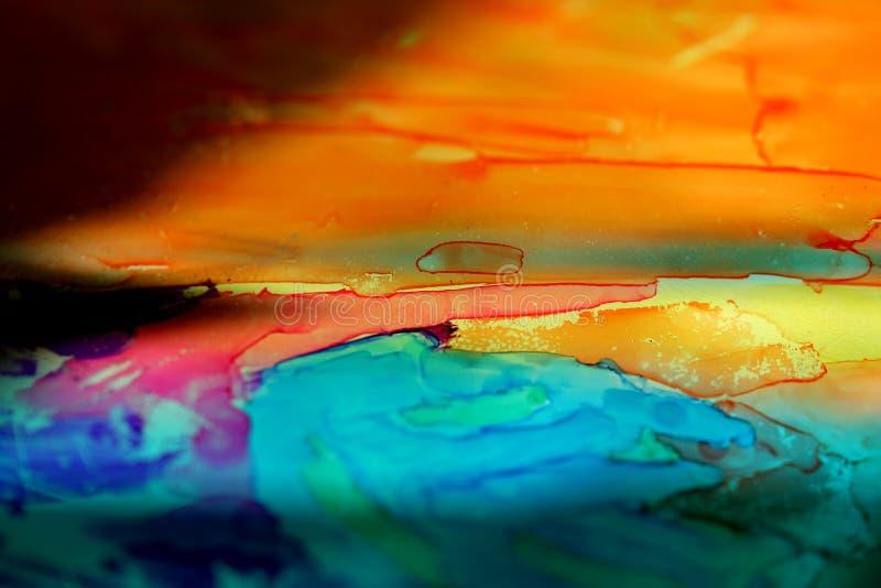 Paisaje de cristal pintado imagen de archivo