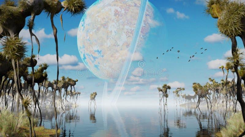 Paisaje de Exoplanet, mundo extranjero con las plantas extrañas y ejemplo del espacio de las criaturas que vuela 3d ilustración del vector