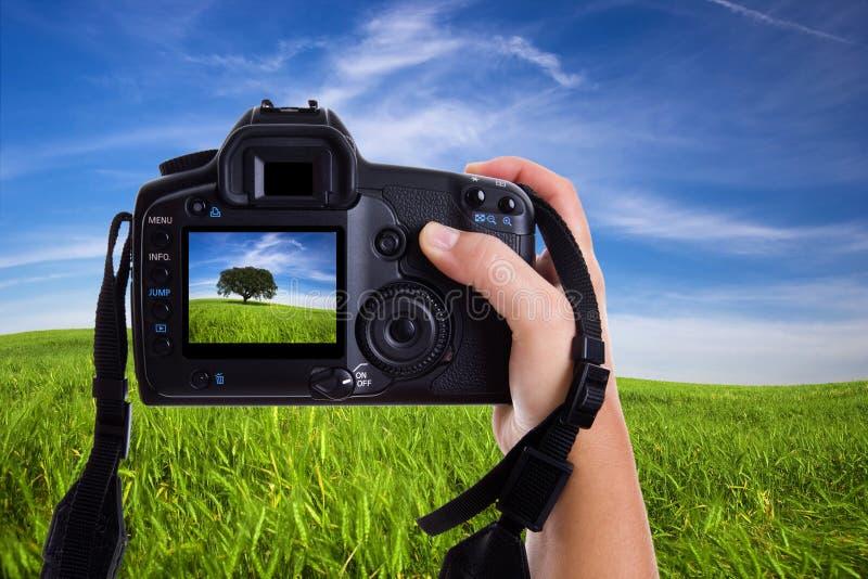 Paisaje de fotografía de la mujer con las cámaras digitales imagen de archivo