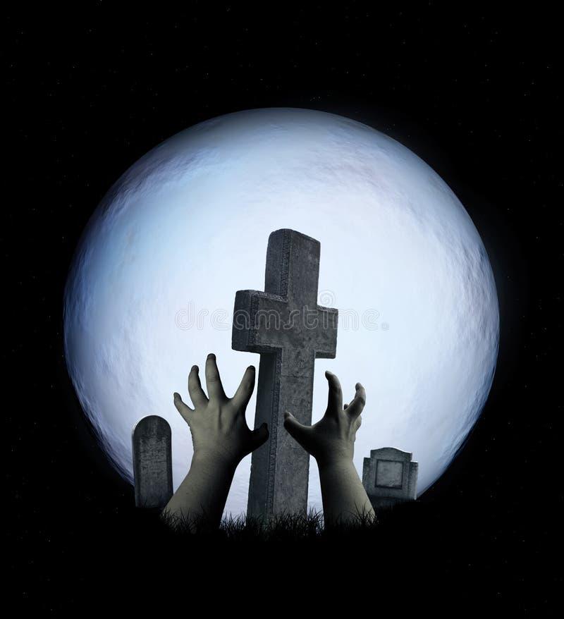 Paisaje de Halloween con las manos fantasmagóricas del zombi, la Luna Llena y el cemete ilustración del vector